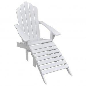 Πολυθρόνα Λευκή Ξύλινη με Υποπόδιο