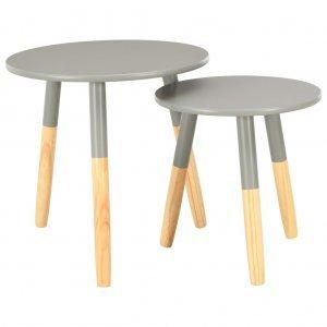 Βοηθητικά Τραπέζια 2 τεμ. Γκρι από Μασίφ Ξύλο Πεύκου