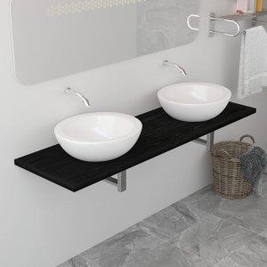 Έπιπλο Μπάνιου Μαύρο 160 x 40 x 16,3 εκ.