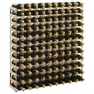 Ραφιέρα/Σταντ Κρασιών για 120 Φιάλες από Μασίφ Ξύλο Πεύκ&omic