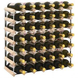 Ραφιέρα/Σταντ Κρασιών για 42 Φιάλες από Μασίφ Ξύλο Πεύκ&omicr
