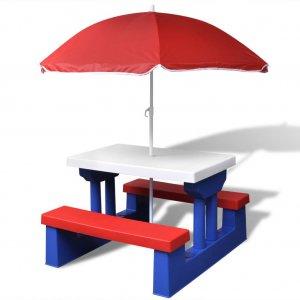 Τραπέζι Πικ-νικ Παιδικό με Παγκάκια και Ομπρέλα Πολύχρωμο
