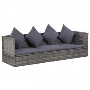 Ξαπλώστρα - Κρεβάτι Κήπου Γκρι 200 x 60 εκ. Συνθετικό Ρατάν