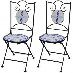 Καρέκλες Bistro Πτυσσόμενες 2 τεμ. Μπλε / Λευκό Κεραμι&ka