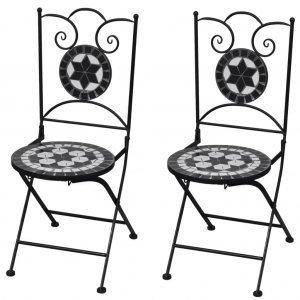Καρέκλες Bistro Πτυσσόμενες 2 τεμ. Μαύρο / Λευκό Κεραμι&k
