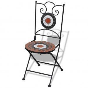 Καρέκλες Bistro Πτυσσόμενες 2 τεμ. Τερακότα / Λευκό Κε&rho