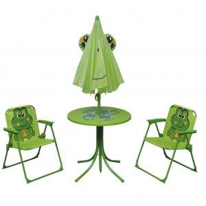 Σετ Επίπλων Bistro Κήπου Παιδικό 3 τεμ. Πράσινο με Ομπρέλα