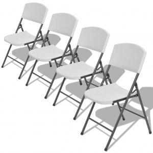 Καρέκλες Κήπου Πτυσσόμενες 4 τεμ. Λευκές από Ατσάλι / HDPE