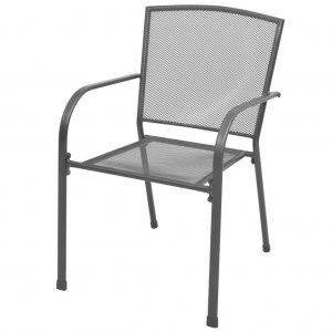 Καρέκλες Κήπου Στοιβαζόμενες 2 τεμ. Γκρι Ατσάλιν&e