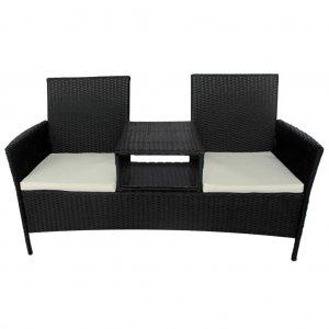 Κάθισμα Διθέσιο Κήπου με Τραπεζάκι Μαύρο από Συνθ&epsilo