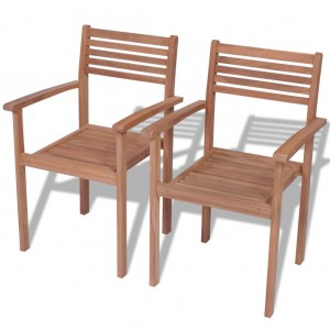 Καρέκλες Κήπου Στοιβαζόμενες 2 τεμ. από Μασίφ Ξύλο Teak