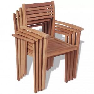 Καρέκλες Κήπου Στοιβαζόμενες 4 τεμ. από Μασίφ Ξύλο Teak