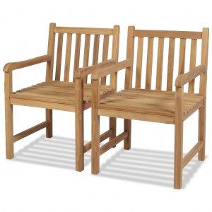 Καρέκλες Κήπου 2 τεμ. από Μασίφ Ξύλο Teak