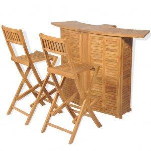 Σετ Επίπλων Bistro με Πτυσσομ. Καρέκλες 3 τεμ. Μασίφ Ξύλο Tea
