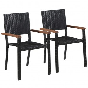 Καρέκλες Κήπου 2 τεμ. Μαύρες από Συνθετικό Ρατάν