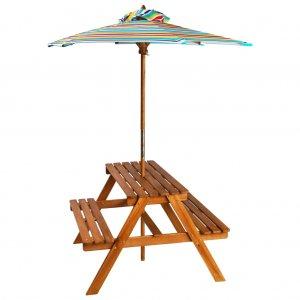 Τραπέζι Πικνικ με Ομπρέλα Παιδικό 79 x 90 x 60 εκ. Ξύλο Ακακίας