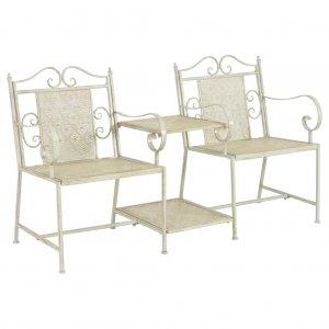 Κάθισμα Διθέσιο Κήπου Λευκό 161 εκ. Ατσάλινο
