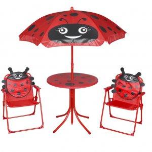 Σετ Επίπλων Bistro Κήπου Παιδικό 3 τεμ. Κόκκινο με Ομπρέλα
