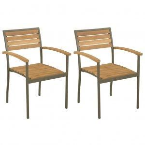 Καρέκλες Κήπου Στοιβαζόμενες 2 τεμ. Μασίφ Ξύλο Ακ&alp
