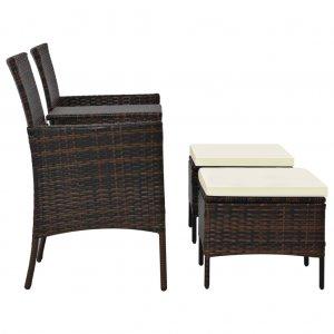 Κάθισμα Διθέσιο Κήπου με Τραπεζάκι/Υποπόδια Καφέ &Sigm