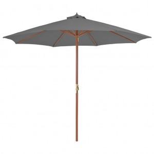 Ομπρέλα Κήπου Ανθρακί 300 εκ. με Ξύλινο Ιστό