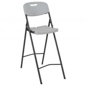 Καρέκλες Μπαρ Πτυσσόμενες 2 τεμ. Λευκές από HDPE / Ατσά&lambda