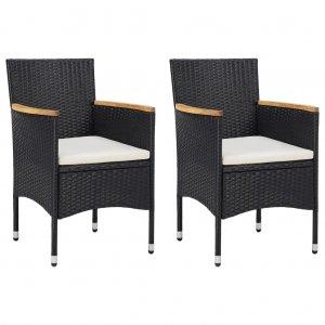 Καρέκλες Τραπεζαρίας Κήπου 2 τεμ. Μαύρες από Συνθ&epsilon