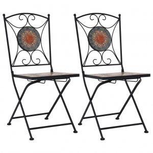 Καρέκλες Μπιστρό «Μωσαϊκό» 2 τεμ. Πορτοκαλί / Γκρι