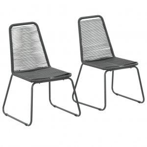 Καρέκλες Κήπου Στοιβαζόμενες 2 τεμ. Μαύρες από Συ&n