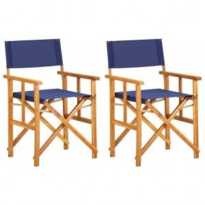 Καρέκλες Σκηνοθέτη 2 τεμ. Μπλε από Μασίφ Ξύλο Ακακίας