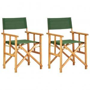 Καρέκλες Σκηνοθέτη 2 τεμ. Πράσινες από Μασίφ Ξύλο Ακακίας