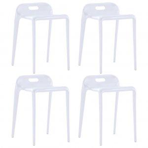Σκαμπό Στοιβαζόμενα 4 τεμ. Λευκά Πλαστικά