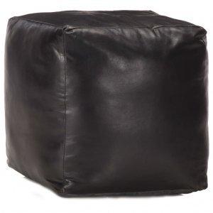 Πουφ Μαύρο 40 x 40 x 40 εκ. από Γνήσιο Δέρμα Κατσίκας