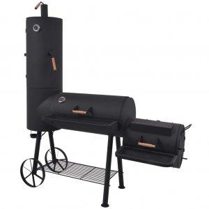 Ψησταριά Κάρβουνου/Καπνιστήριο Μαύρη με Κάτω Ράφι Heavy XXL