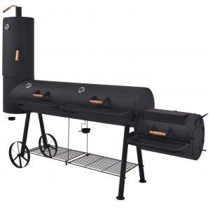 Ψησταριά Κάρβουνου/Καπνιστήριο Μαύρη με Κάτω Ράφι Heavy XXXL
