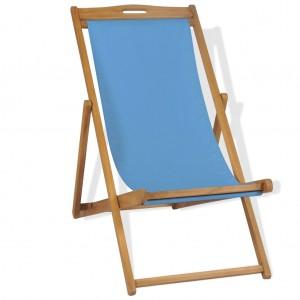 Ξαπλώστρα Μπλε 56 x 105 x 96 εκ. από Ξύλο Teak