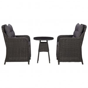 Καρέκλες Κήπου 2 τεμ. με Τραπεζάκι Μαύρες από Συνθ&epsilon