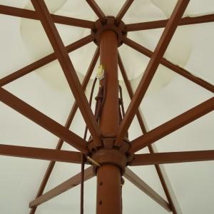 Ομπρέλα Κήπου Χρώμα της Άμμου 330 εκ. με Ξύλινο Ιστό