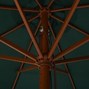 Ομπρέλα Κήπου Πράσινη 330 εκ. με Ξύλινο Ιστό