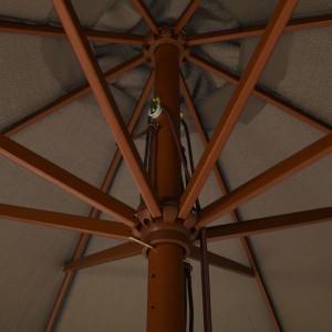 Ομπρέλα Κήπου Χρώμα Taupe 330 εκ. με Ξύλινο Ιστό