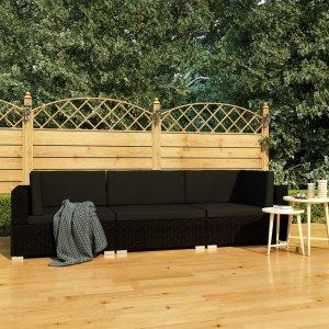 Σετ Καναπέ Κήπου 3 Τεμαχίων Μαύρο Συνθετικό Ρατάν με Μ&