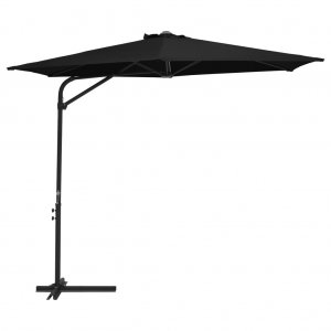 Ομπρέλα Κήπου Μαύρη 300 εκ. με Ατσάλινο Ιστό