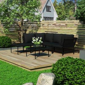 Σαλόνι Κήπου 6 Τεμαχίων Μαύρο από PVC με Μαξιλάρια