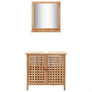 Έπιπλο Μπάνιου με Καθρέφτη από Μασίφ Ξύλο Καρυδιάς