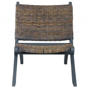 Καρέκλα Γκρι Φυσικό Ρατάν Kubu και Μασίφ Μαόνι