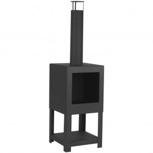 Esschert Design Τζάκι Εξωτερικού Χώρου Μαύρο με Αποθηκ. Χώρο FF410