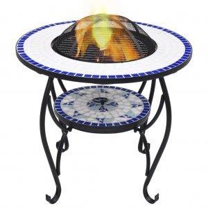 Τζάκι Εξ. Χώρου/Τραπέζι «Μωσαϊκό» Μπλε/Λευκό 68 εκ. Κεραμικό