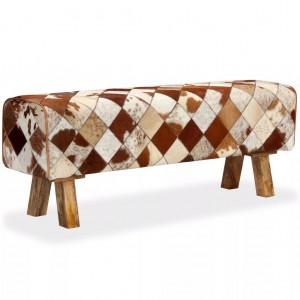 Παγκάκι με Σχέδιο Ρόμβων από Γνήσιο Δέρμα Αγελάδας