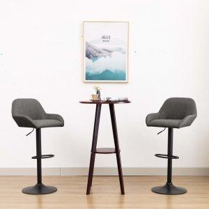 Καρέκλα Μπαρ με Μπράτσα Σκούρο Γκρι Υφασμάτινη