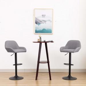 Καρέκλα Μπαρ με Μπράτσα Ανοιχτό Γκρι Υφασμάτινη